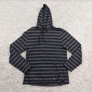 Vans Hoodie Shirt Men Large Gray Black Striped A03